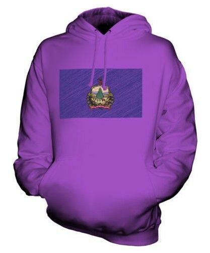 VERMONT STATE SCRIBBLE FLAG UNISEX HOODIE TOP GIFT VERMONTER FOOTBALL