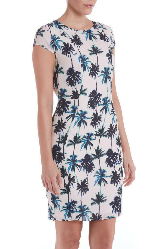 Sugarhill Boutique Palma Shift Dress XS-XL 8-16 Crema & verde Tropicale