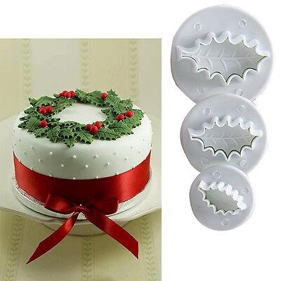 3pcs Xmas Leaf Fondant Cake Cupcake Cutter Sugarcraft Mould Baking DIY Tools #T