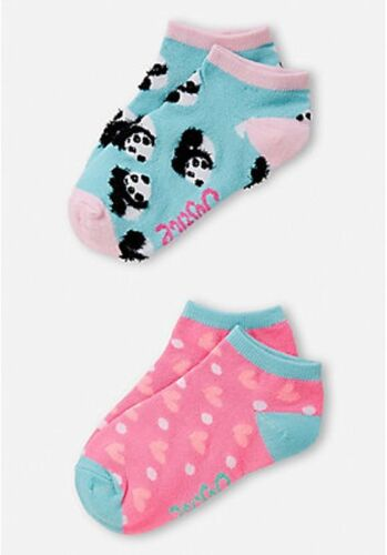 2 Pack Size Medium Large New with Tags Justice Girls Panda /& Hearts Socks
