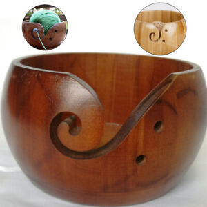 Beautiful-Wooden-Yarn-Bowl-Storage-Yarn-Holder-Mango-Wood-Crochet-amp-Knitting-Gift