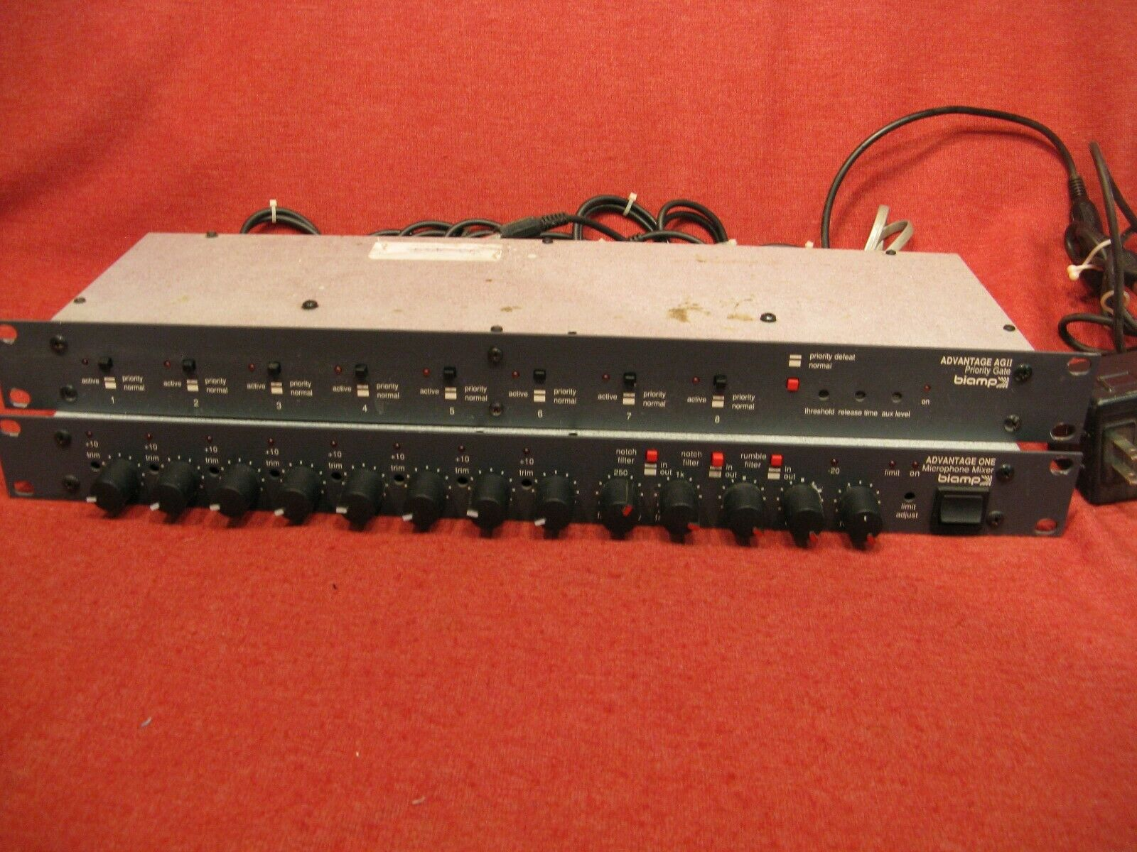 Biamp Advantage One  8 Microphone Mixer + Advantage AG II Priority Gate  Cables