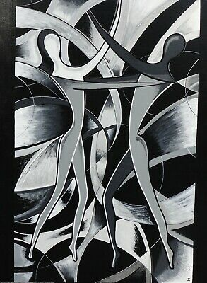 Abstract Couple Black And White Pattern Wall Art Large Poster /& Canvas Picture