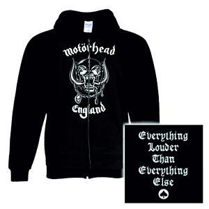 Motorhead Hoodie England warpig band logo new Official Black Zipped