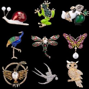 Women-Animal-Owl-Butterfly-Dragonfly-Pearl-Crystal-Brooch-Pin-Costume-Jewelry