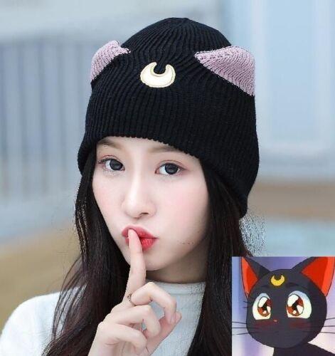 Luna Cat Sailor Moon Women Girl Hat Soldier Knitted Crochet Slouch Warm Cap
