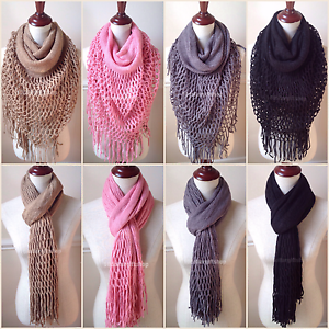 Details about Women's Fringe Knit Fishnet Infinity Scarf 2 Loop Solid Cowl  Shawl