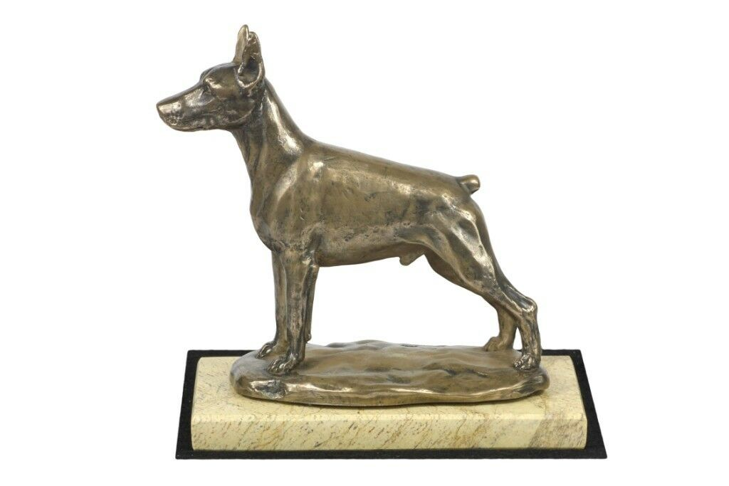 Doberman type 2 - sculpture made of Cold Cast Bronze on the sand marble, Art Dog