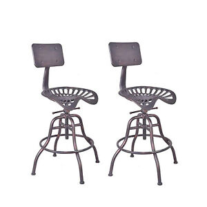 Peachy Details About Industrial Swivel Bar Stools Tractor Seat Backrest Height Adjustable Set Of 2 Lamtechconsult Wood Chair Design Ideas Lamtechconsultcom
