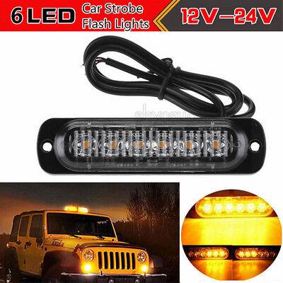 Red /& White 6 LED 18W Bar Car Truck Strobe Flash Warning Light Lamp US 4Pack