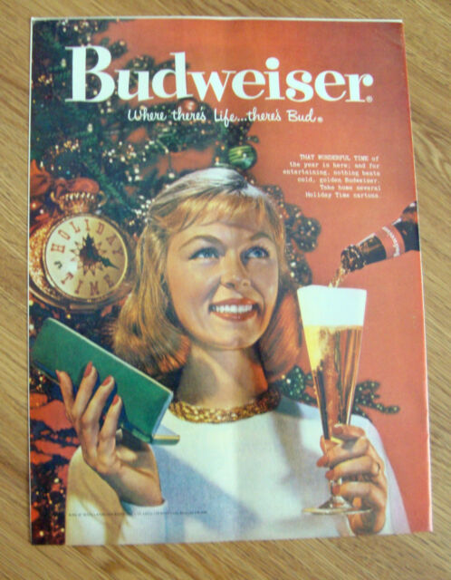 1958 Budweiser Beer Ad  Chistmas Theme