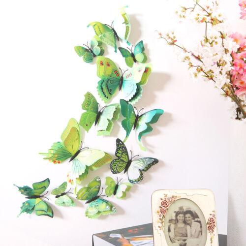 24pcs 3D Butterfly Wall Stickers Double-deck Art Design Decals Room Decor DIY cn