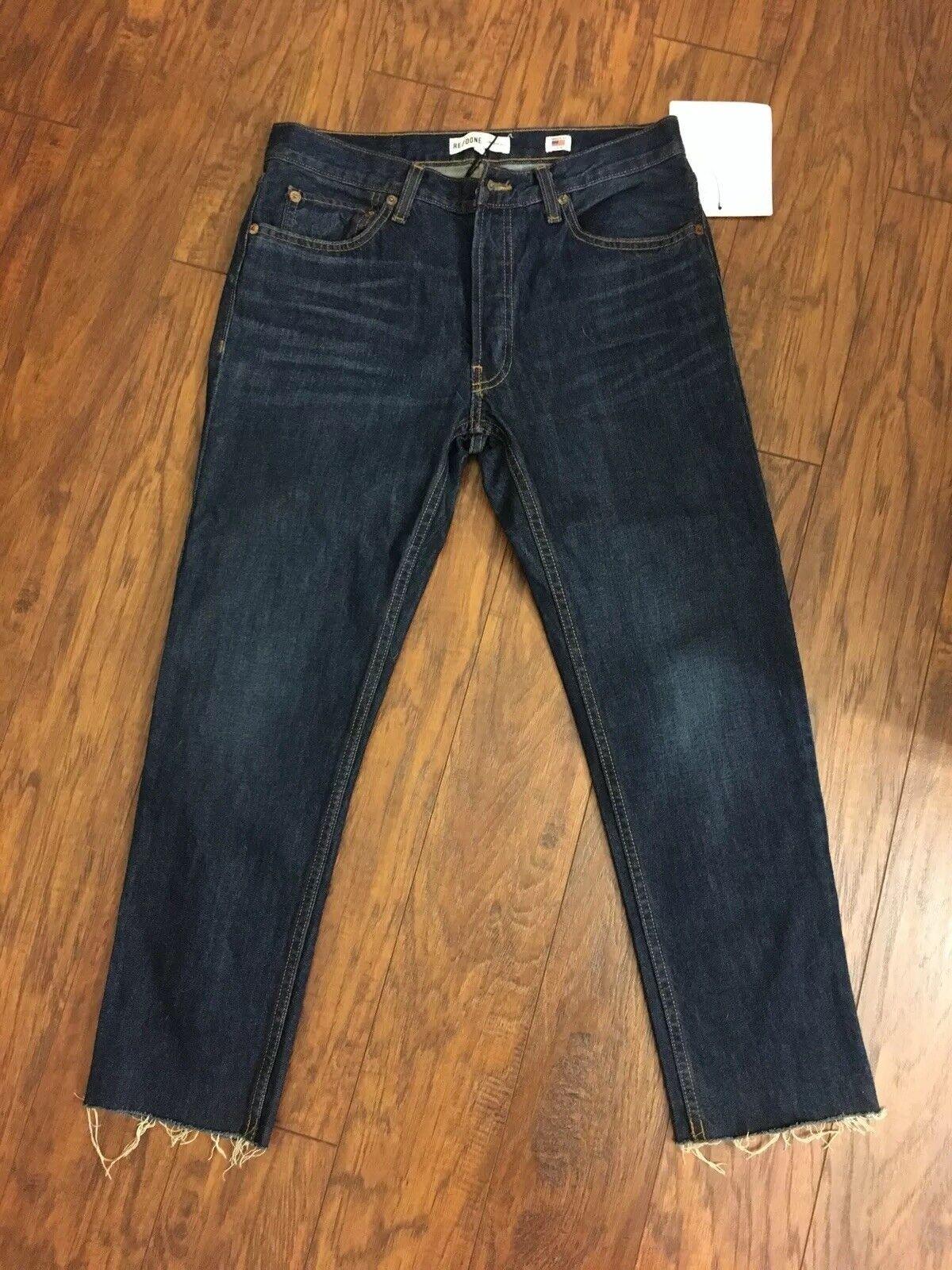 B02 RE fait 26 bleu foncé 100% coton Effilé Jeans