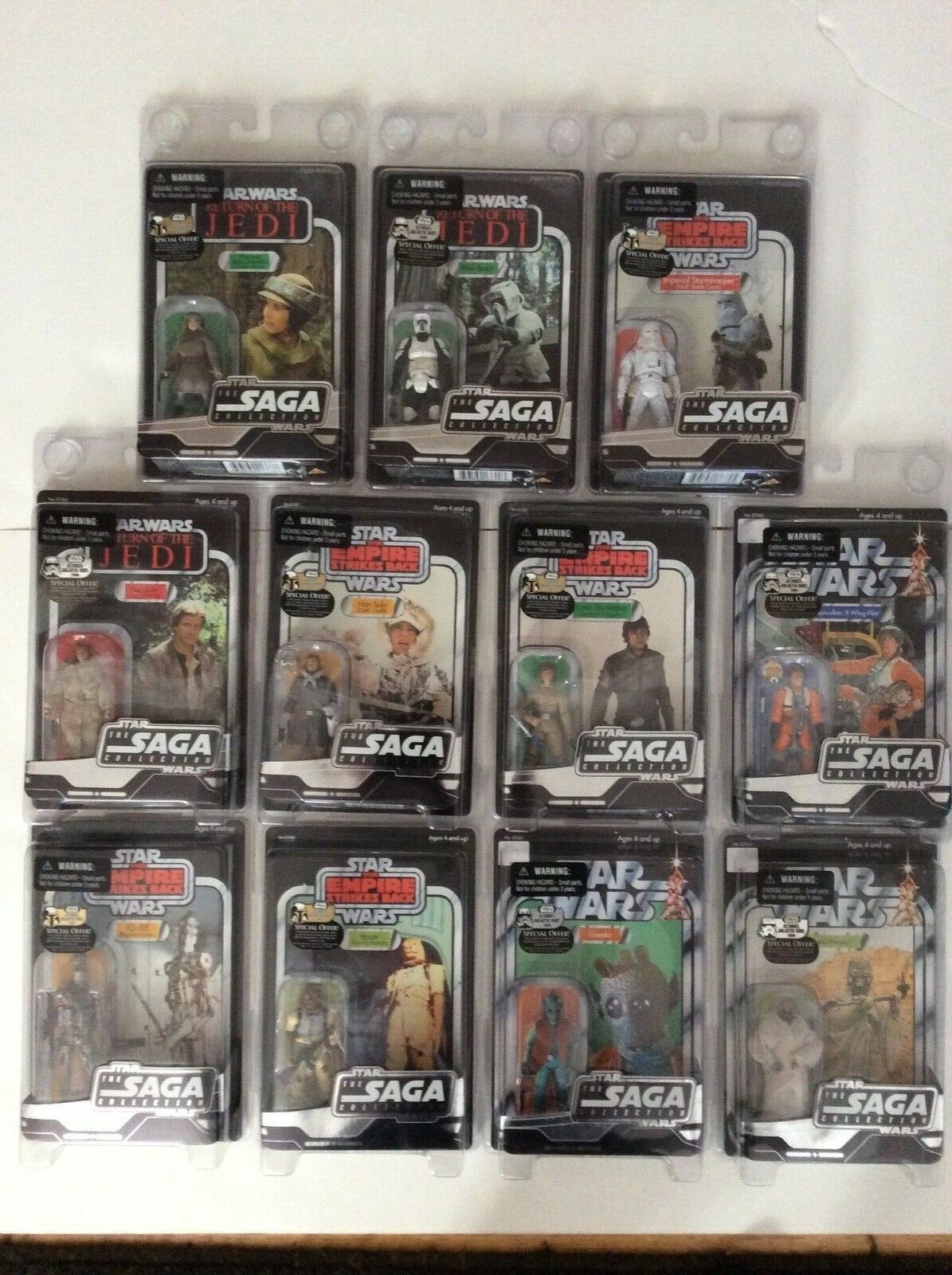 "STAR WARS VINTAGE THE SAGA COLLECTION 3.75"" 11 UNPUNCHED SEALED NEW figures lot"