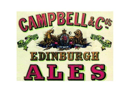 Campbell edinburgh ales pub beer metal wall plaque sign
