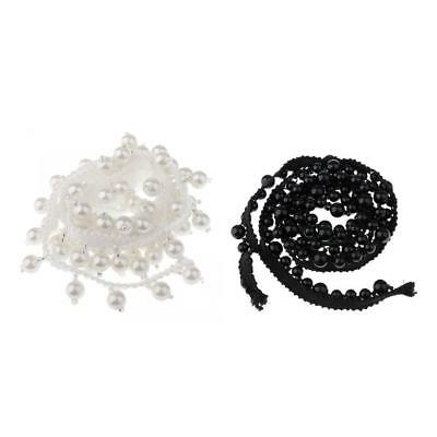 1 YARD WHITE BEADED SEWING TRIMMINGS CHAIN RIBBON BRIDAL DRESS APPLIQUE