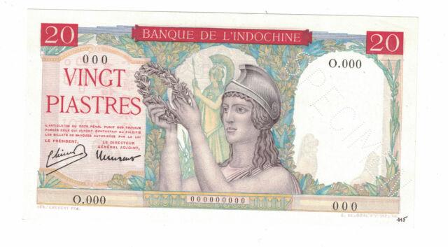FRENCH INDOCHINA - SPECIMEN 20 PIASTRES 1949 Pick# 81s UNC. (#1417)