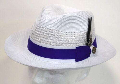 Men/'s Fedora Dress Casual Hat Summer Straw White//Purple 100/% Poly Braid MR-103