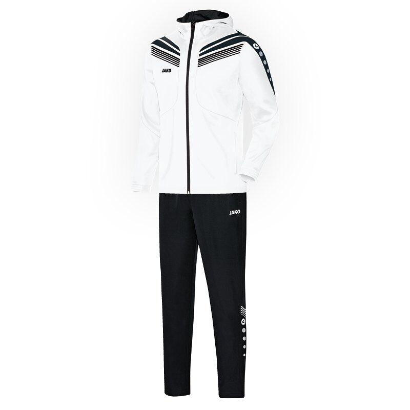 JAKO Freizeitanzug mit Kapuze Pro weiß schwarz Herren Trainingsanzug