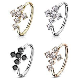 Cz Cross Nose Cartilage Ring Hoop Brass Piercing Jewelry 20 Gauge 5