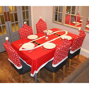 Snowflake Pattern Christmas Xmas Chair Covers Table