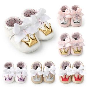 bebb90f97 Toddler Infant Baby Girl Crown Princess Shoes Soft Sole Anti-slip ...