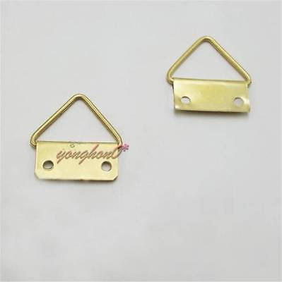 25pc Golden Triangle D-Ring Hanging Picture Frame Hooks Painting Mirror Hangers