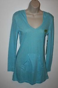 Earth-Yoga-Top-Womens-Size-S-Long-Sleeve-V-Neck-Hoodie-Organic-Cotton-Blue-NEW