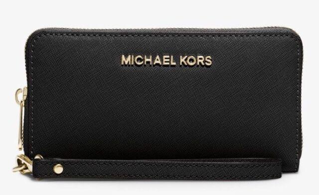 2aaf0258f341af Michael Kors MK Jet Set Multifunction Large Phone Wristlet Black 32t4gtve3l