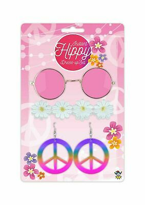 Adult 60s Hippie Hippy Floral Daisy Peace Festival Fancy Dress Accessory Set