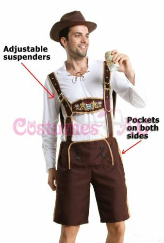 Mens Oktoberfest Embroidery Lederhosen Costume Octoberfest Bavarian German Beer