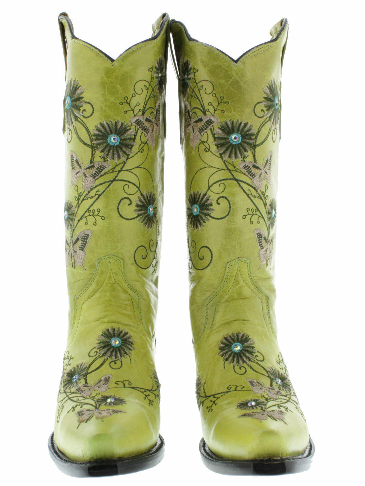 femmes vert Leather Butterfly Flower Embroidery Western Western Western Cowgirl bottes Snip f43c78