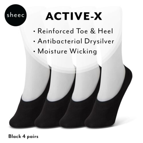 4 Pairs Best Women/'s No-Show Socks for Casual Shoes Sheec SoleHugger Active X