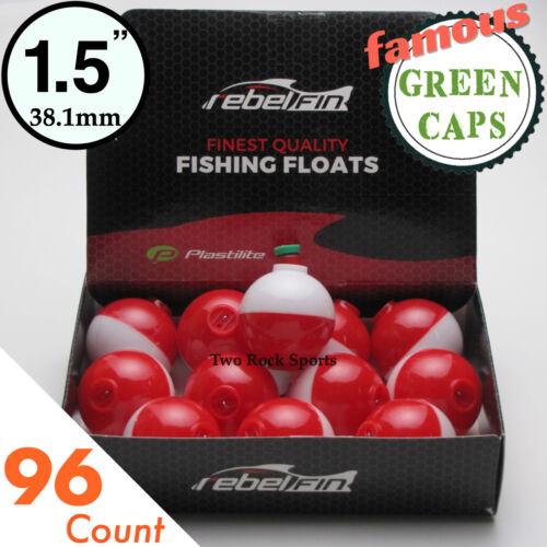 "Red /& White Fishing Bobber 3-250 Bulk Pack 1.5/"" inch Round GREEN CAPS"