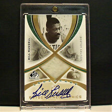 2005 UD SP Game Used Legendary Fabrics Bill Russell Auto/Warm Up /50 Celtics