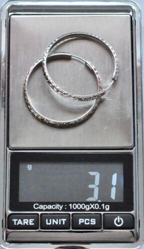 18k  white gold diamond cut hoop earring earrings  3.1  grams 1 1//4 inches #9415