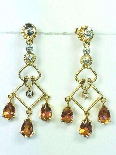 14K two tone gold 2.2ct Fire Topaz chandelier dang