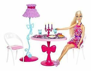 Mattel X7942 Barbie Glam Dining Room Furniture And Doll Set