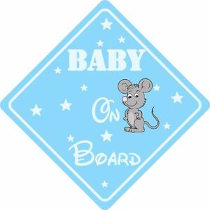 BABY ON BOARD MOUSE Car Sign Sticker Baby Child Children Safety Kids Boy Blue