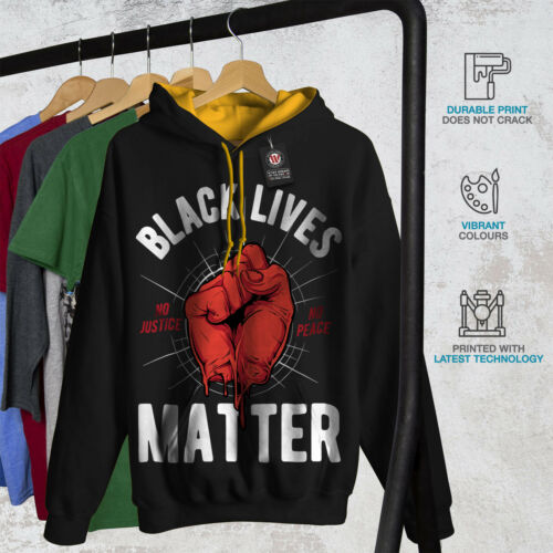 Black Lives Matter Slogan Men Contrast Hoodie NEWWellcoda