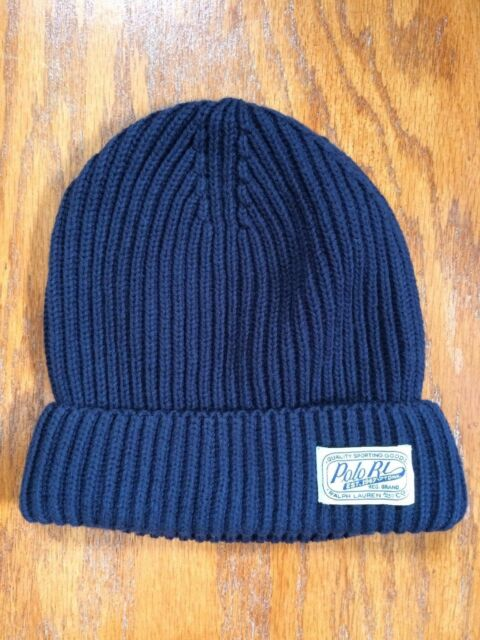 NWT POLO RALPH LAUREN RIB-KNIT COTTON POLO RL PATCH NAVY BEANIE CAP SKULLY  HAT 226e4b616ba8