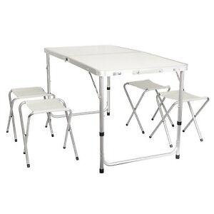 Set-Alu-Campingtisch-faltbar-120-cm-mit-4-Hocker-Klapptisch-Gartentisch-klappbar