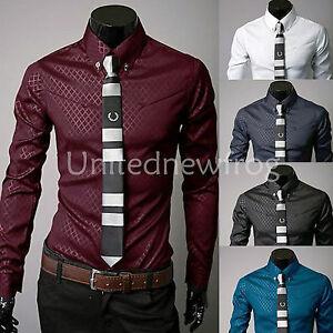 Luxury-New-Fashion-Mens-Slim-Fit-Shirt-Long-Sleeve-Dress-Shirts-Casual-Shirts