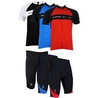 Piu Miglia Mens Short Sleeve Full Zip Cycling Jersey Bike Top Cycle Shorts Shirt