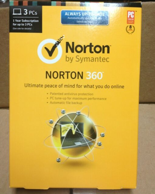 2 Norton 360 2014 by Symantec 1 Year Subscription for 3 PC's New  Factory Sealed