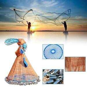 Magic Hand Cast Fishing Net Spin Network Easy Throw 240cm//300cm Nylon Bait Z8A4