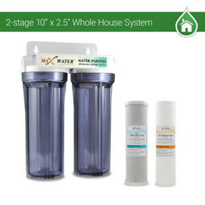 "2 Stage10"" Whole House Water Filter Sediment Carbon Filter /RVS/Well/Pool/Boiler"