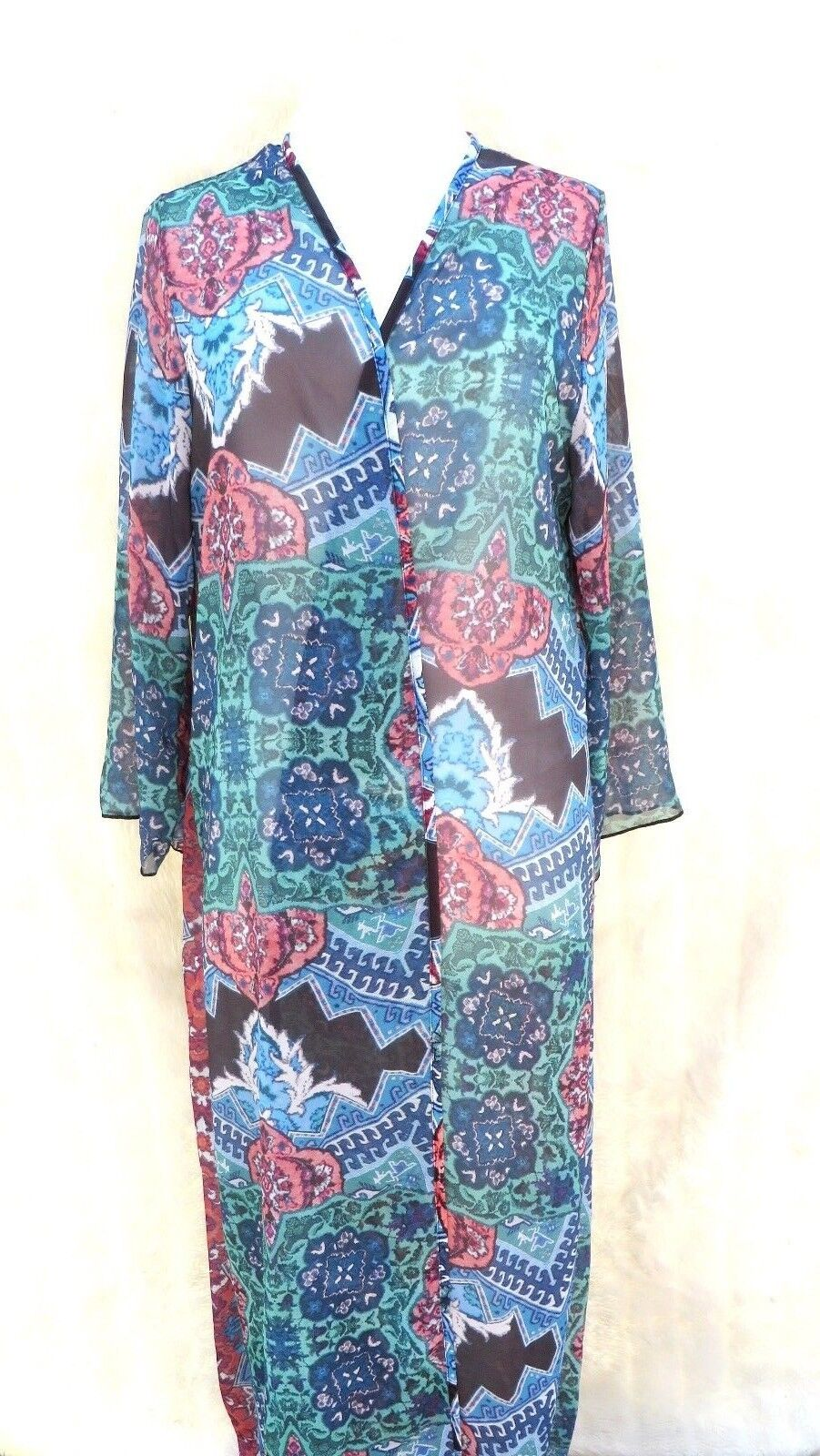 Red bluee green Japanese Oriental sheer long beach cover up robe kimono cardigan