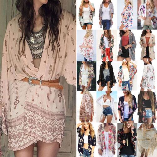 Damen Blumen Kimono Cardigan Locker Strickjacke Mantel Bluse Chiffon Strand Tops