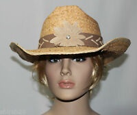 Cov-ver Womens Cowboy Country Flower Raffia Hat Sun Protection Shapeable Brim